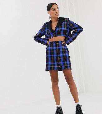 Reclaimed Vintage inspired mini skirt co-ord in bold check-Blue