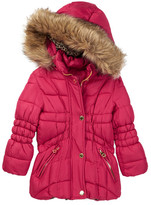 Catherine Malandrino Faux Fur Trimmed Hooded Bubble Jacket (Little Girls)