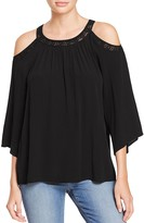 Daniel Rainn Lace Trimmed Cold Shoulder Blouse