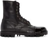 Diesel Black Leather Steel Boots