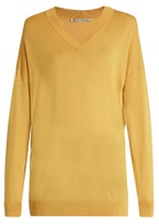Stella McCartney V-neck oversized wool and silk-blend sweater
