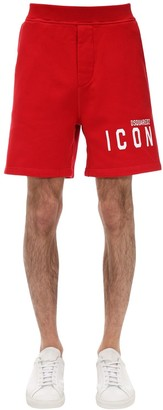 DSQUARED2 Print Icon Logo Cotton Jersey Shorts