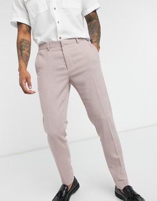 ASOS DESIGN super skinny smart pants in pink dog tooth