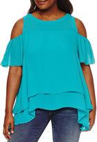 Boutique + + Short Sleeve Cold Shoulder Woven Blouse-Plus