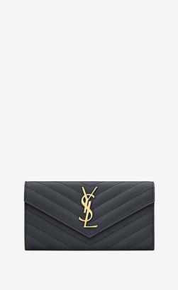 Saint Laurent Monogram Slg Monogram Large Flap Wallet In Grain De Poudre Embossed Leather Storm Onesize