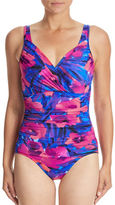 INC International Concepts One-Piece Floral Ruched Swimsuit