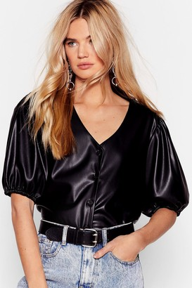 Nasty Gal Womens Puff Shoulder Faux Leather Shirt - Black - 6