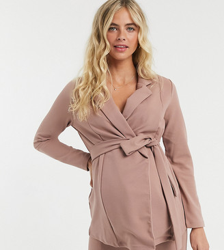 ASOS DESIGN Maternity jersey wrap suit blazer in blush