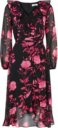 Wallis PETITE Pink Floral Ruffle Midi Dress