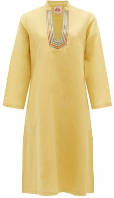 Le Sirenuse Positano Le Sirenuse, Positano - Malika Embroidered Cotton-blend Tunic Dress - Yellow Multi