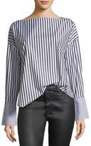 AG Jeans Famke Long-Sleeve Striped Poplin Top