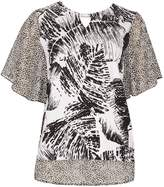 Izabel London Feather Leaf Chiffon Style Top