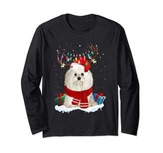 Shih Funny Tzu Dog Christmas Reindeer Christmas Lights Gift Long Sleeve T-Shirt