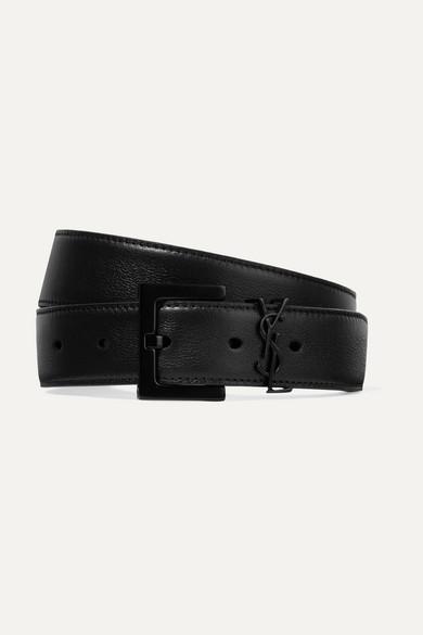 Saint Laurent Embellished Leather Belt - Black