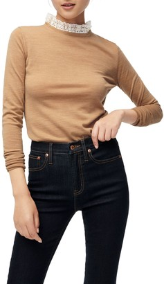 J.Crew Tippi Lace Collar Detail Sweater