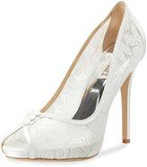 Badgley Mischka Nerissa Peep-Toe Lace Pump, White