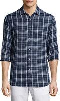 Michael Kors Tailored Plaid Long-Sleeve Shirt, Navy
