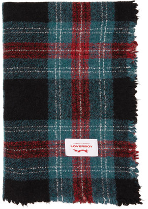 Charles Jeffrey Loverboy Blue Wool Tartan Blanket Scarf