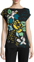 Escada Aquarelle-Print Cap-Sleeve Shell, Fantasy