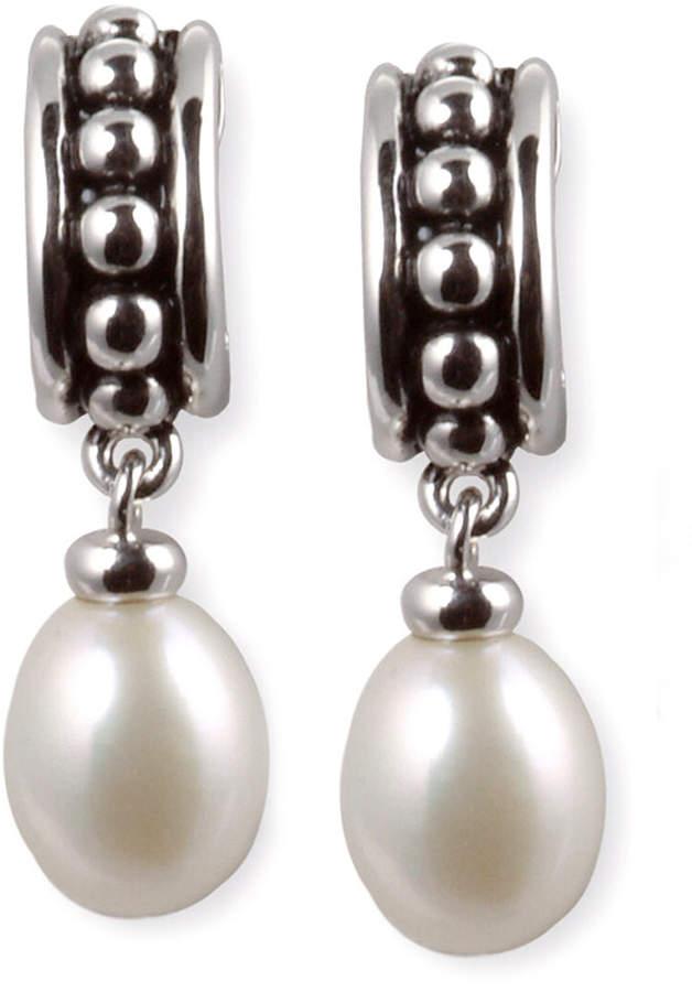 Honora Style Cultured Freshwater Pearl Hoop Earrings in Sterling Silver