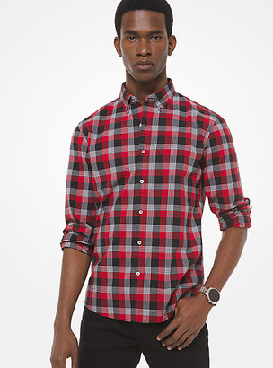 Michael Kors Slim-Fit Printed Stretch-Cotton Shirt