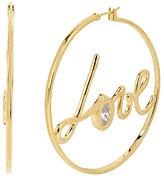 Betsey Johnson Betsey Blue Love Hoop Gold Earrings