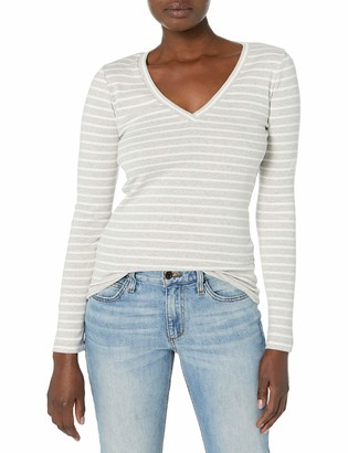 J.Crew Women's Percect Fit Long Sleeve V-Neck Shirt in Stripe