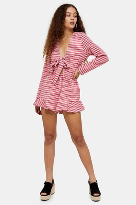 Glamorous Womens **Pink And Red Gingham Tie Playsuit By Pink