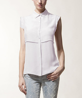Pearl Phyllo Silk Button-Up Top