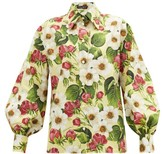 Dolce & Gabbana Balloon-sleeve Floral-print Cotton Shirt - Womens - Yellow Print