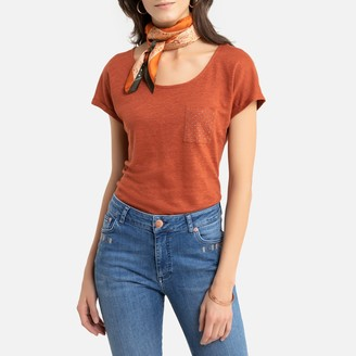 Anne Weyburn Linen Short-Sleeved T-Shirt with Crew-Neck