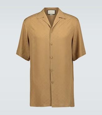 Gucci Checked GG silk crepe bowling shirt