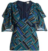 Talitha Collection Shani Painted Jasmin Graphic-print Silk Top - Womens - Blue Multi