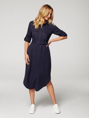Forever New Gina Long-Sleeve Belted Shirt Dress - Deep Indigo - 10