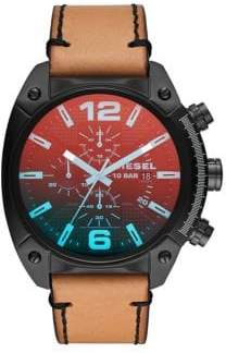 Diesel Overflow Leather Strap Watch