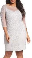 Pisarro Nights Plus Size Women's Embellished Illusion Yoke & Sleeve Sheath Dress