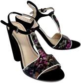 Plenty by Tracy Reese Black Print Suede Sandal Heels