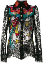 Dolce & Gabbana space patch lace shirt