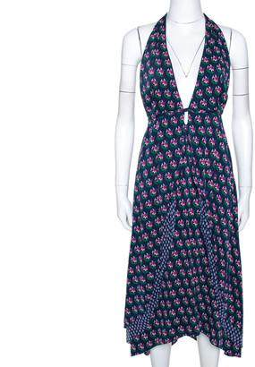 Diane von Furstenberg Navy Blue Zen Floral Print Silk Leyland Halter Dress XL