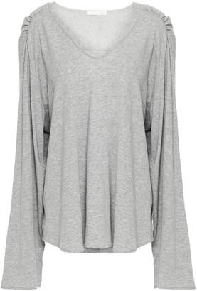 Skin Gathered Melange Pima Cotton-jersey Pajama Top
