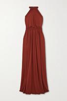 Matteau - Net Sustain Gathered Jersey Halterneck Maxi Dress - Claret