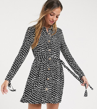 Miss Selfridge Petite spot print mini shirt dress in black