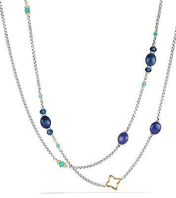 David Yurman Bead Necklace with Lapis Lazuli, Dumortierite, Hampton Blue Topaz and 18K Gold