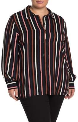 Halogen Button Front Tunic Shirt (Plus Size)