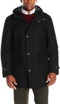 London Fog Men's Wool Blend Bench Warmer Coat with Attached Hood