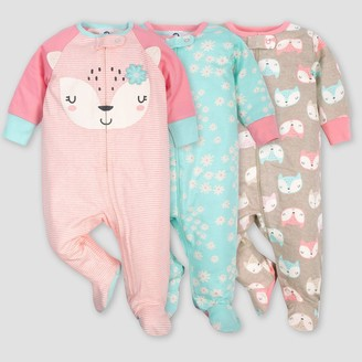 Gerber Baby Girls' 3pk Fox Sleep N' Play Pajamas - Coral/Green/Light Brown M