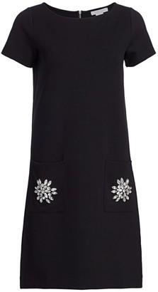 Joan Vass Bejeweled Pocket Shift Dress