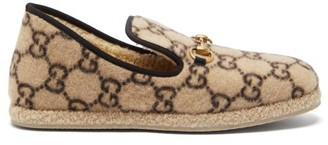 Gucci Fria Gg-print Felted-wool Loafers - Beige