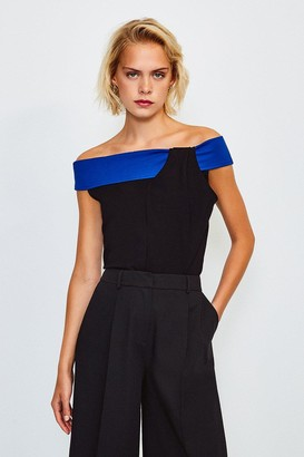 Karen Millen Colour Block Bardot Twist Neck Top