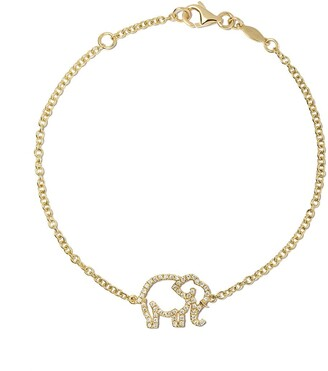 Kiki McDonough 18kt yellow gold Memories diamond elephant bracelet